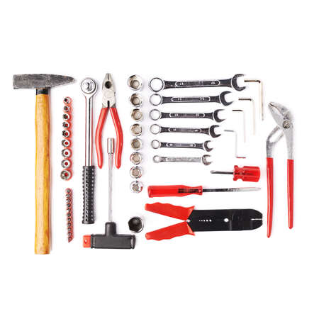 building tool: Set of different work tools over white isolated background