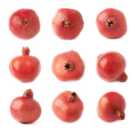 punica granatum: Pomegranate punica granatum fruit isolated over the white background, set of nine different foreshortenings