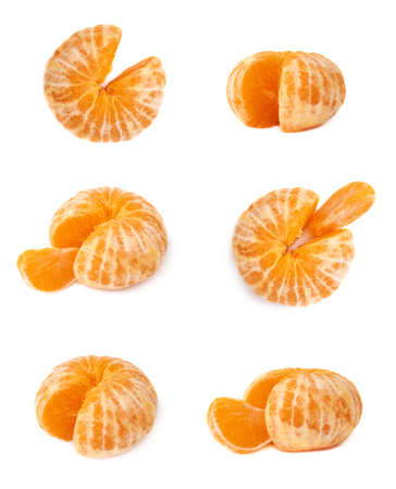 cleaned: Fresh juicy peeled cleaned tangerine ripe fruit isolated over the white background