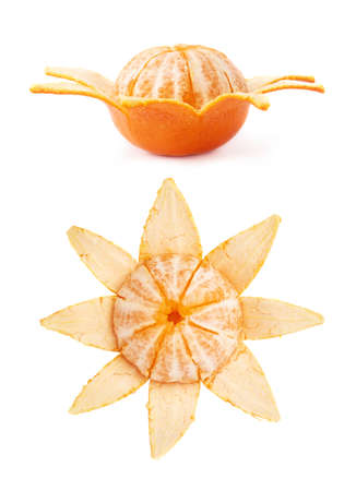 cleaned: Fresh juicy tangerines fruits partly peeled cleaned isolated over the white background