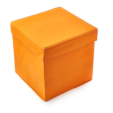 pouffe: Orange foot stool ottoman pouffe over isolated white background Stock Photo
