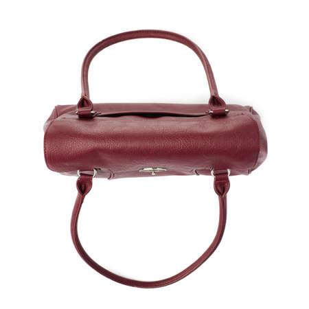 vinous: Vinous leather Female bag isolated over the white background