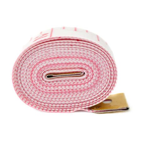 tailor measuring tape: Red Tailor measuring tape isolated over the white background
