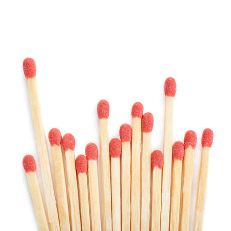 unlit: Pile of Wooden unused matches isolated over the white background