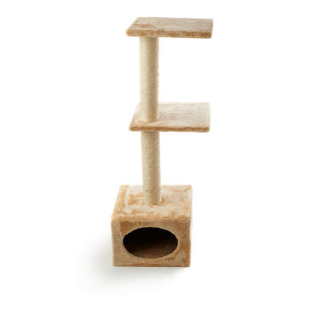 housecat: Scratching post for cats over isolated white background