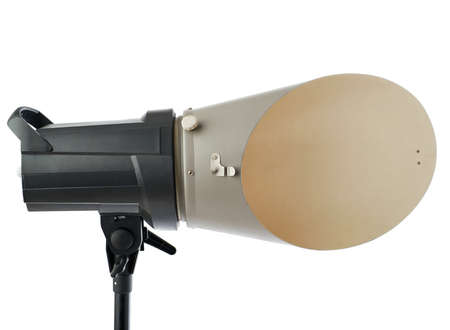 reflector: Pulse studio flash with background reflector on a stand over isolated white background