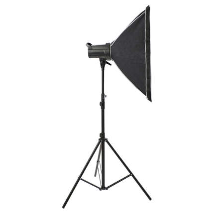 softbox: Pulse studio flash with square softbox on a stand over isolated white background Stock Photo