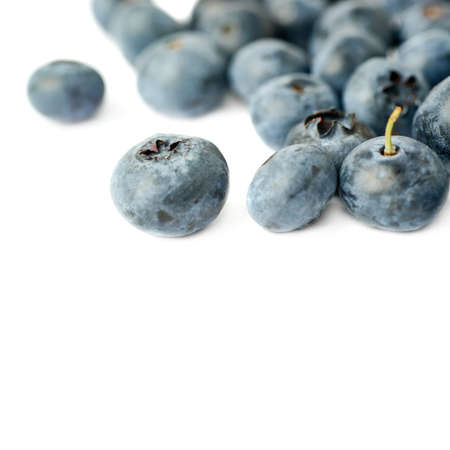bilberry: Pile of Ripe bilberry or blueberry over isolated white background Stock Photo