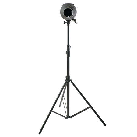 snoot: Pulse studio flash with a conical snoot on a stand over isolated white background