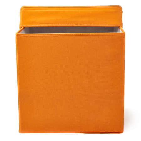 pouffe: Orange foot stool ottoman pouffe over isolated white background Stock Photo