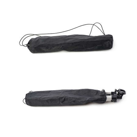 cary: Set of Camera tripod black cover bag over isolated white background