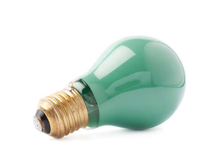 electric green: Single electric green bulb lying on its side, isolated over the white background