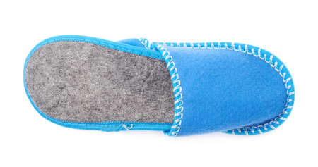 terrycloth: Pair of blue house slippers isolated over white background Stock Photo