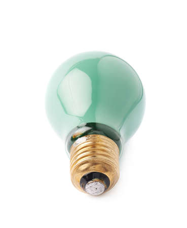 green bulb: Single electric green bulb lying on its side, isolated over the white background