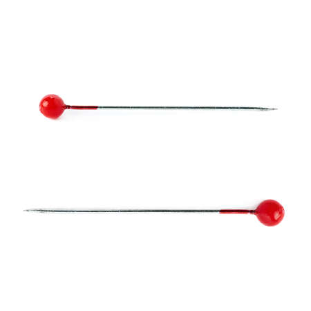 pin needle: Set of Small sewing push pin needle with red head isolated over the white background
