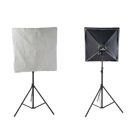 softbox: Set of Pulse studio flash with square softbox on a stand over isolated white background