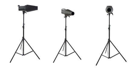 snoot: Set of Pulse studio flash with a conical snoot on a stand over isolated white background