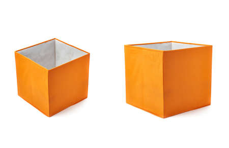 pouffe: Set of Orange foot stool ottoman pouffe over isolated white background