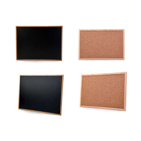 pin board: Black clean Chulk pin board over isolated white background Stock Photo