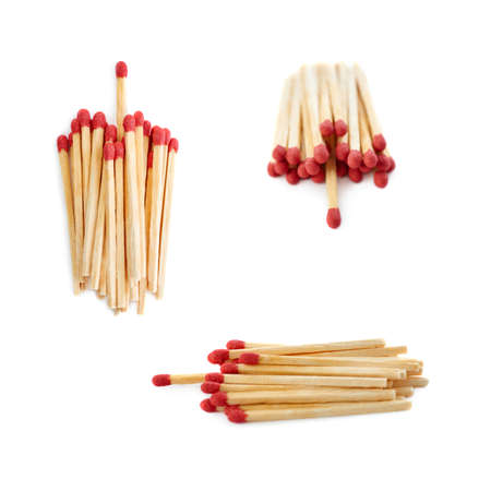 chosen: Set of Pile of Wooden unused matches isolated over the white background, as chosen one concept