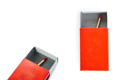 match box: Set of One Wooden unused match in box isolated over the white background
