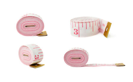 tailor measuring tape: Set of Red Tailor measuring tape isolated over the white background