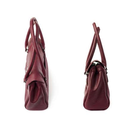 vinous: Set of Vinous leather Female bag isolated over the white background