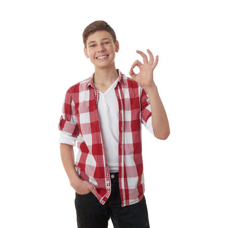 posing  agree: Cute teenager boy in red checkered shirt showing OK sign over white isolated background, half body Stock Photo