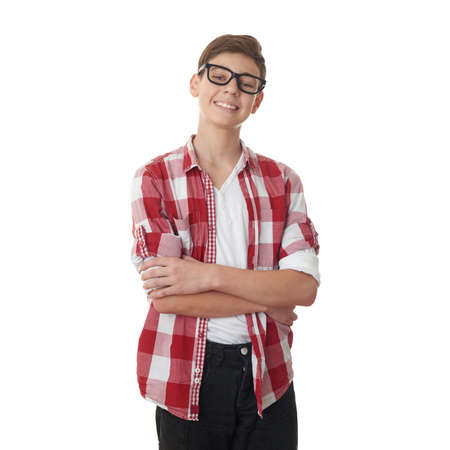 poor eyesight: Cute teenager boy in red checkered shirt and glasses over white isolated background, half body