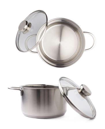steel pan: olla de metal de acero inoxidable pan sobre el fondo blanco aislado
