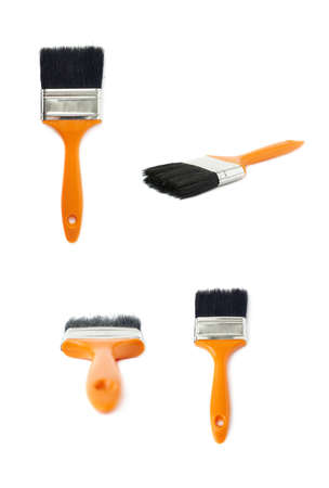 Set of Paint orange working brush over isolated white background