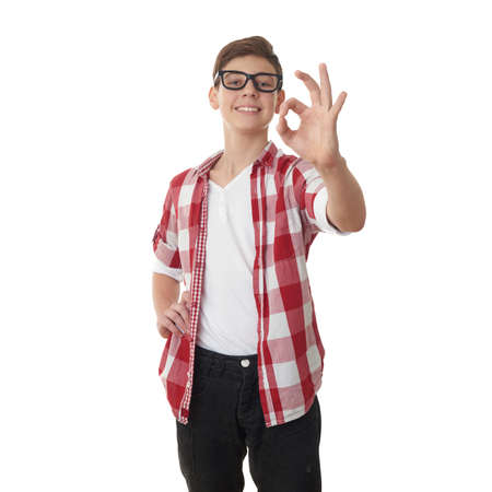 Cute teenager boy in red checkered shirt and glasses showing OK sign over white isolated background, half body