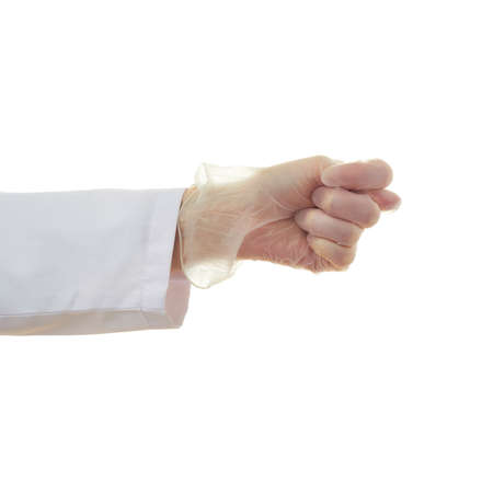 fico: Doctor female hand in rubber glove gesture over white isolated background