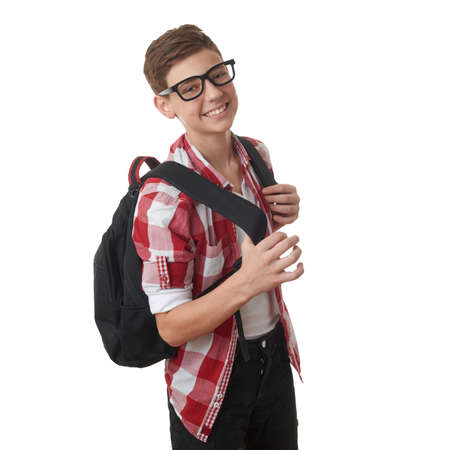 Cute teenager boy in red checkered shirt and glasses with school bag over white isolated background, half body, as school, education concept