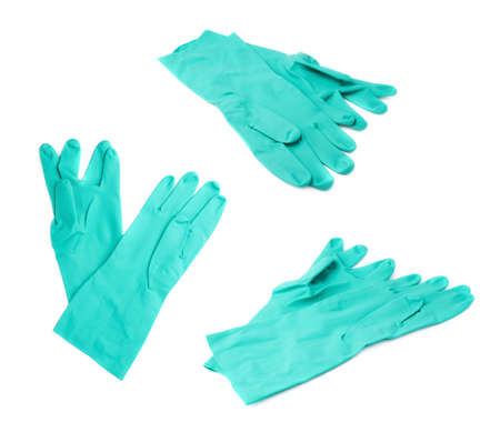 sanitizing: Pair of Rubber kitchen latex green glove over white isolated background Stock Photo