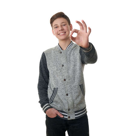 posing  agree: Cute teenager boy in gray sweater showing OK sing over white isolated background, half body