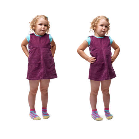 bewildered: Young bewildered little girl with curly hair and arm on hips in purple dress standing over isolated white background Stock Photo