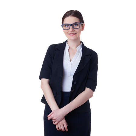 poor eyesight: Smiling businesswoman standing over white isolated background in glasses, business, education, office concept Stock Photo