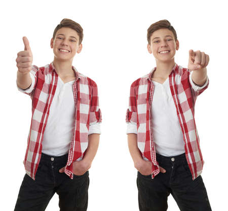 posing  agree: Set of cute teenager boy in red checkered shirt showing thumb up sign over white isolated background, half body