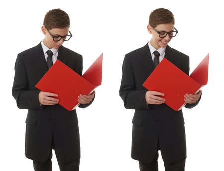 poor eyesight: Set of cute teenager boy in back business suit with red folder over white isolated background, half body, future career concept Stock Photo