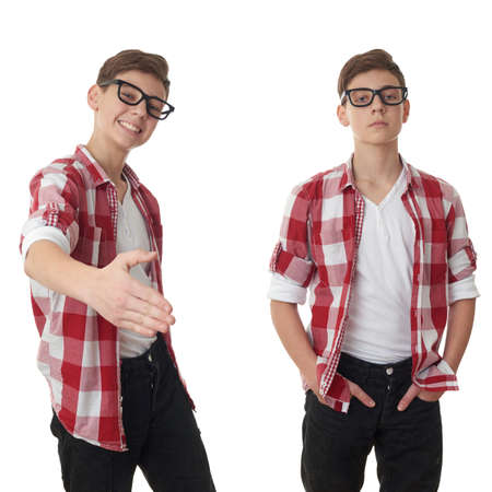 poor eyesight: Set of cute teenager boy in red checkered shirt and glasses stretching hand for greeting over white isolated background, half body