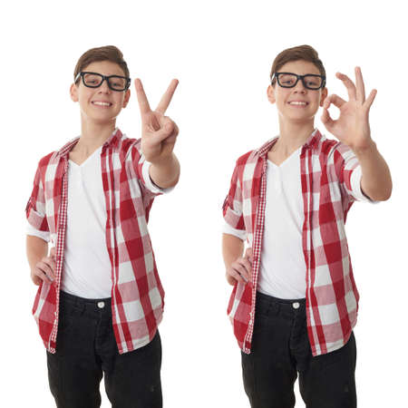 posing  agree: Set of cute teenager boy in red checkered shirt and glasses showing victory over white isolated background, half body