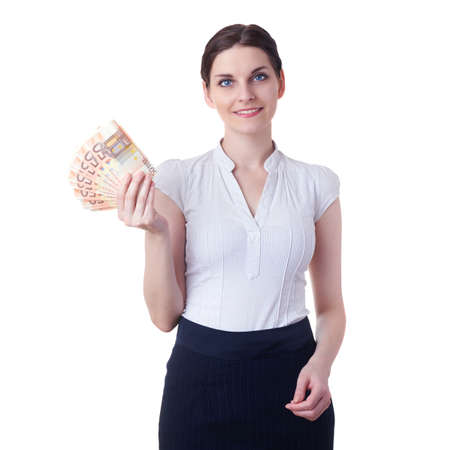 Smiling businesswoman standing over white isolated background with fifty euro banknotes in hands, business, education, money, wealth concept Stock Photo