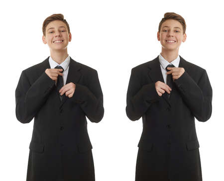 correcting: Set of cute teenager boy in back business suit correcting tie over white isolated background, half body, future career concept