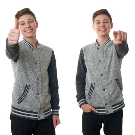 Set of cute teenager boy in gray sweater showing thumb up sing over white isolated background, half body