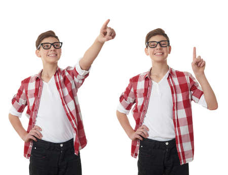poor eyesight: Set of cute teenager boy in red checkered shirt and glasses pointing up side over white isolated background, half body