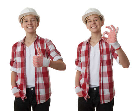 posing  agree: Set of cute teenager boy in red checkered shirt and building helmet showing thumb up sign over white isolated background, half body, constructing concept