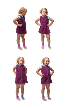 questioned: Young bewildered little girl with curly hair and arm on hips in purple dress standing over isolated white background Stock Photo