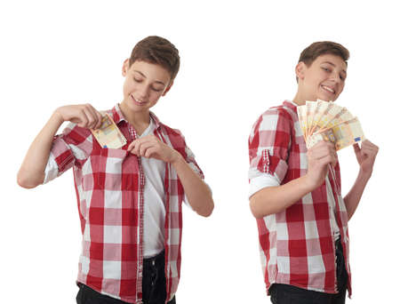 putting money in pocket: Set of cute teenager boy in red checkered shirt putting money into pocket over white isolated background, half body