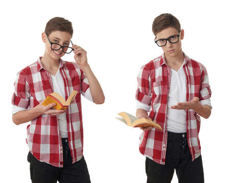 poor eyesight: Set of cute teenager boy in red checkered shirt, glasses and a book over white isolated background, half body, reading concept